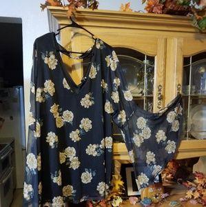 Torrid Bell sleeved floral shirt